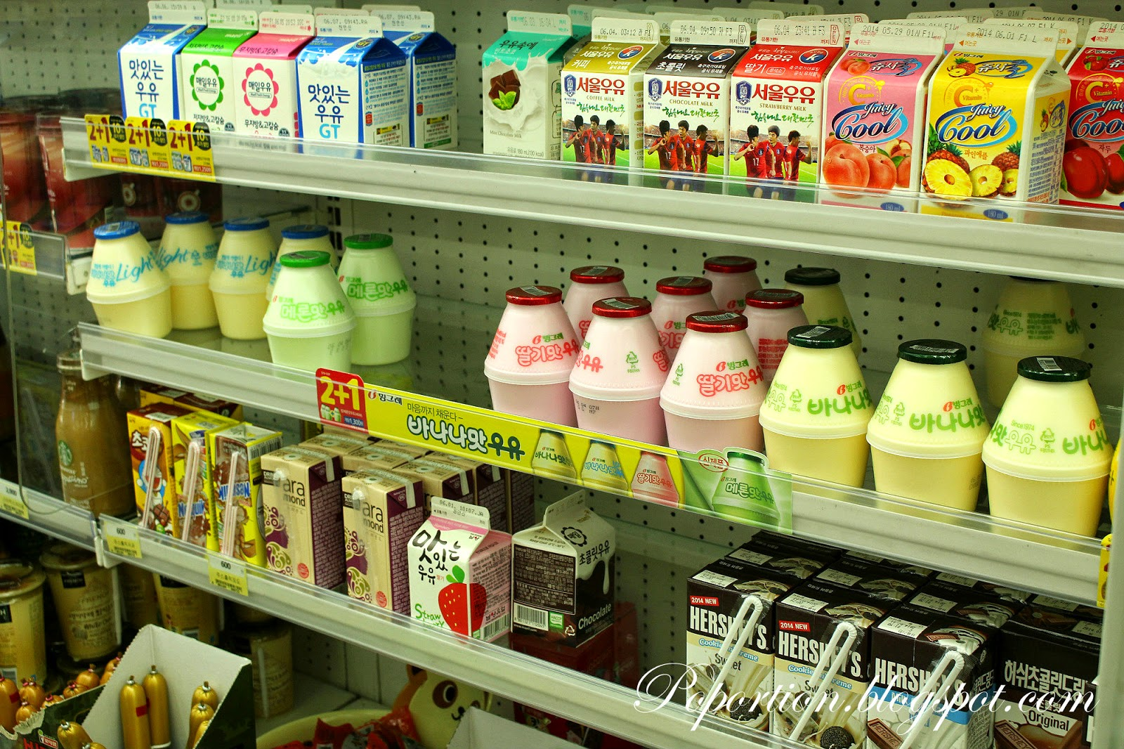 korea convenience stall binggrae banana strawberry melon milk