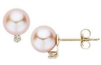 Pink Cultured Pearl & Diamond 14K Yellow Gold Earrings