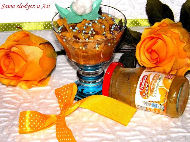 Deser słoneczna pomarańcza z ziarnami zbóż i płatkami kukurydzianymi