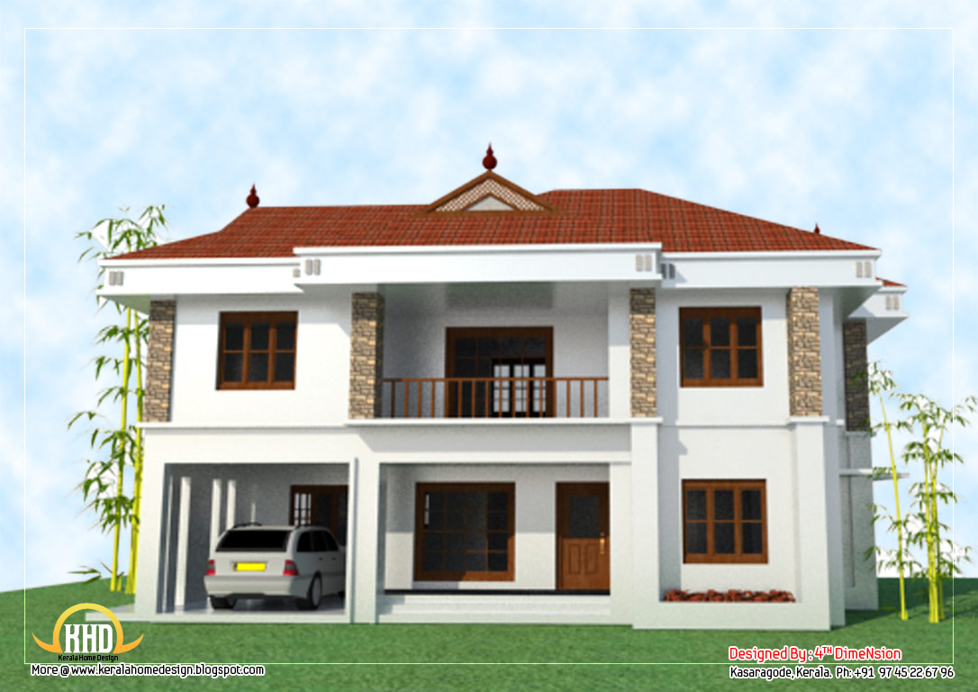 2 story house elevation 2743 sq ft kerala home Individual house plans