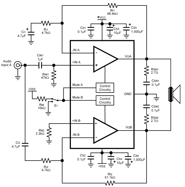 100w audio power amplifier with mute