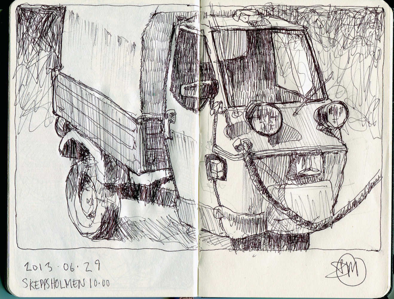 Sketch of 3 wheel van by David Meldrum, 20130629