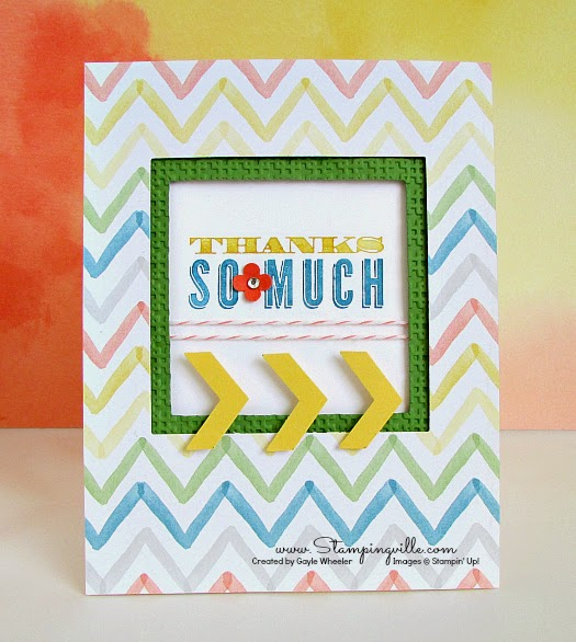 Cheery Chevron Thanks Card | Stampingville #StampinUp #cardmaking #papercrafts