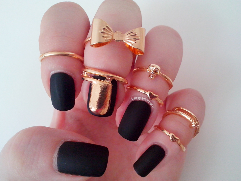 Black Matte Nails Gold Rings