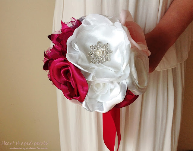 fuchsia an silver bridal bouquet