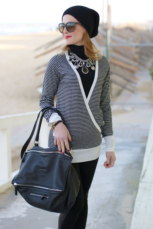striped sweater, black and white outfit, Givenchy bag