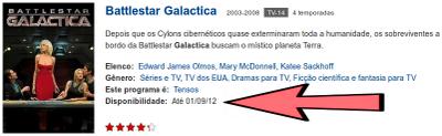 Battlestar Galactica - Disponibilidade: Até 01/08/2012