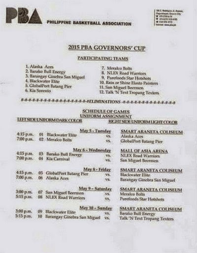 PBA Governors' Cup 2015 Schedule of Games | BallersPinas: Philippine Basketball and Sports Scene ...