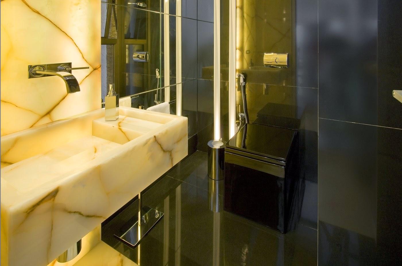 Vasos sanitários quadrados veja banheiros e lavabos lindos com essa  #BB8810 1400x928 Banheiro Com Bancada Preta