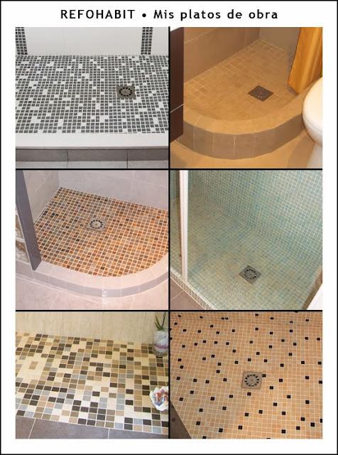 Platos de ducha de obra que se pueden hacer con diferentes materiales como gresite silestone malla porcelánica entre otros.