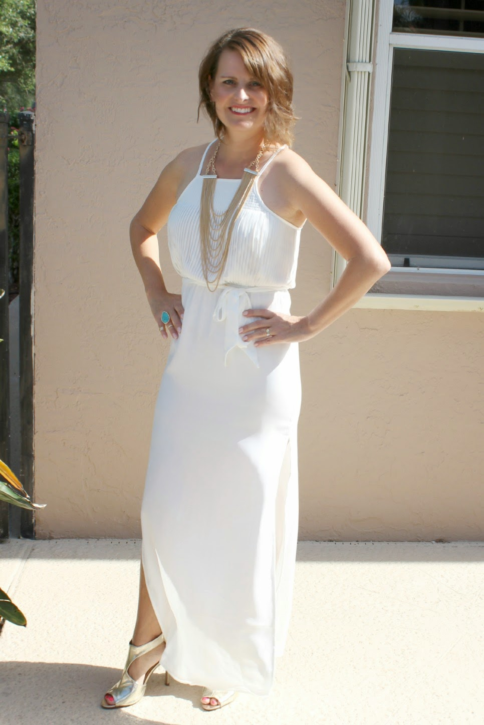 white dress with gold shoes images