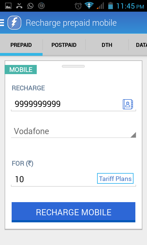 Free Mobile Recharge FreeCharge 50 Cashback