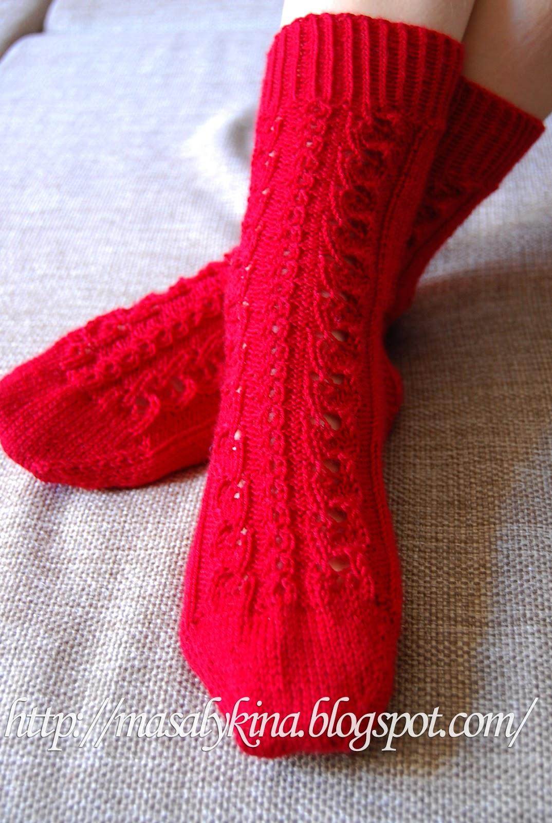 Вязание ажурных носков спицами мастер класс 15