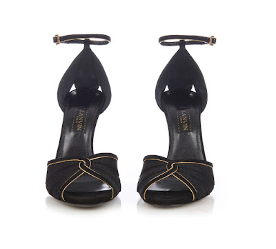 Lanvin black peeptoe high heels with gold piping