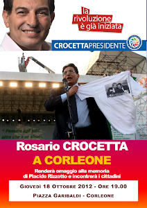 Giovedì 18 ottobre, alle ore 19.00, l'on. Rosario Crocetta a Corleone