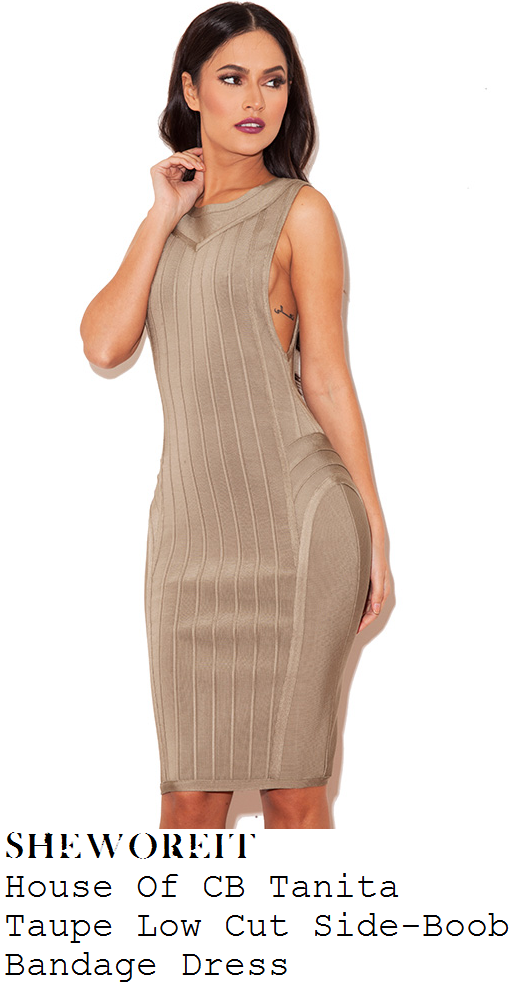 vicky-pattison-taupe-grey-sleeveless-panelled-low-side-bandage-dress