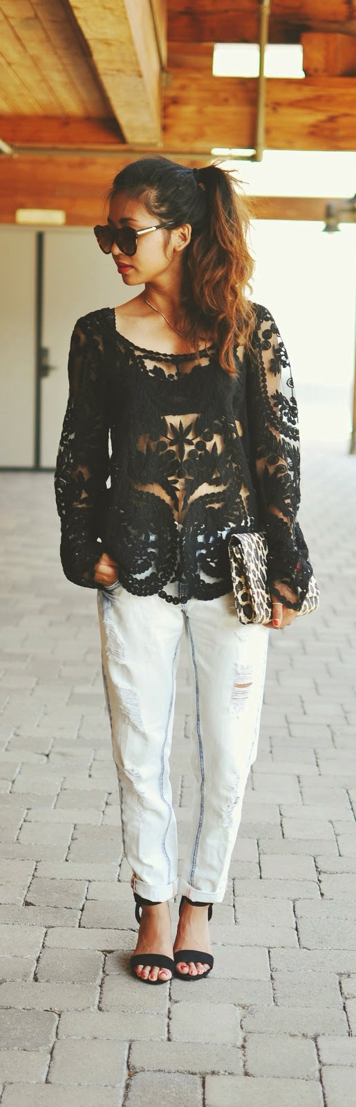 Black Lace Blouse with Ripped Jeans | Causal Chic Outfits