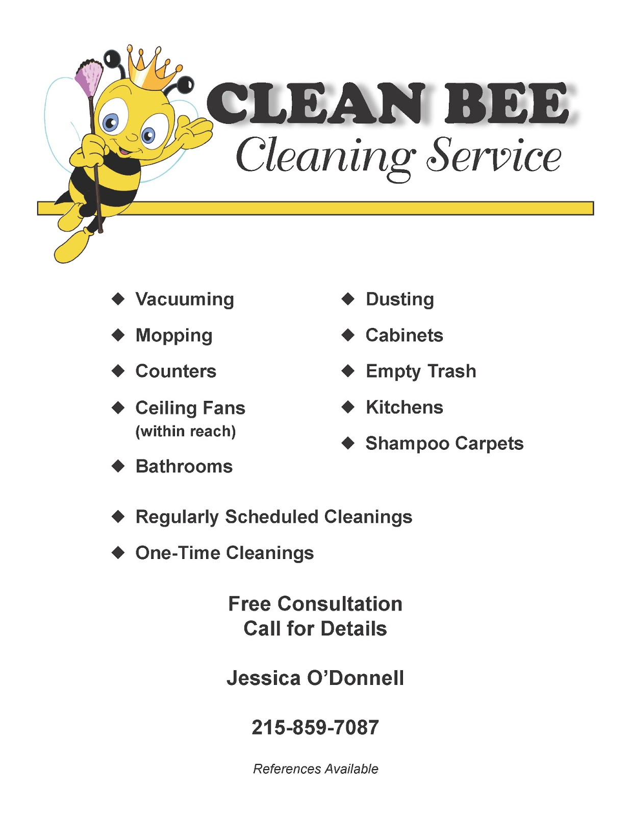 kitelinger designs cleaning service flyer. Black Bedroom Furniture Sets. Home Design Ideas