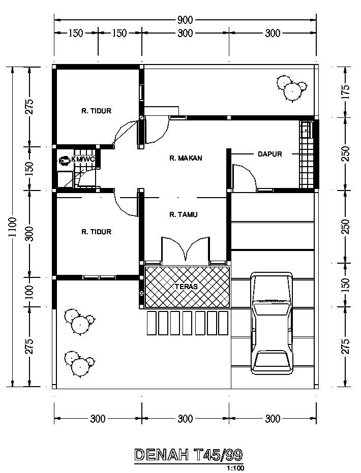 gambardesain3d rumah sederhana type 45
