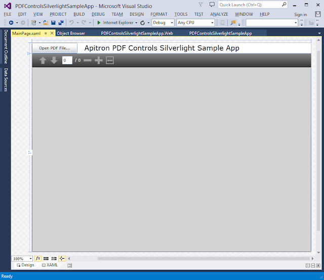 Pic. 1 Sample Silverlight app that uses Apitron PDF Viewer control