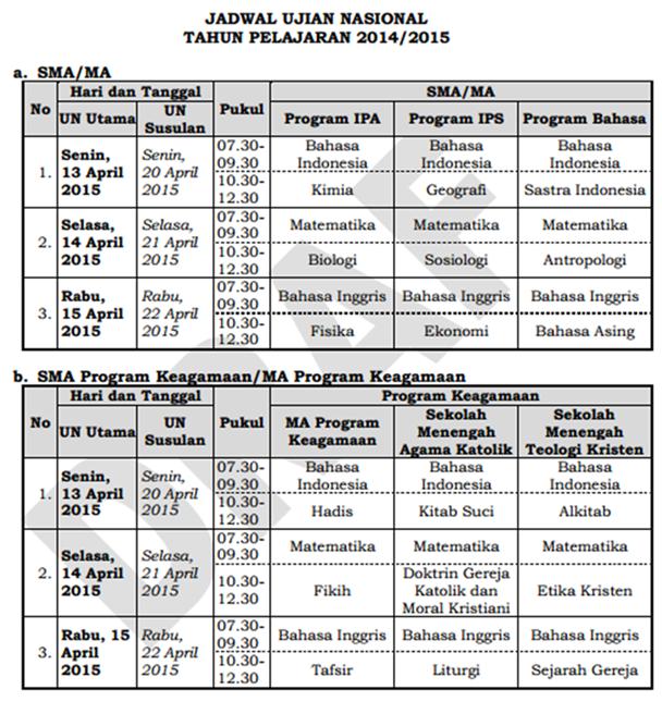 Jadwal Ujian SMA/MA 2015