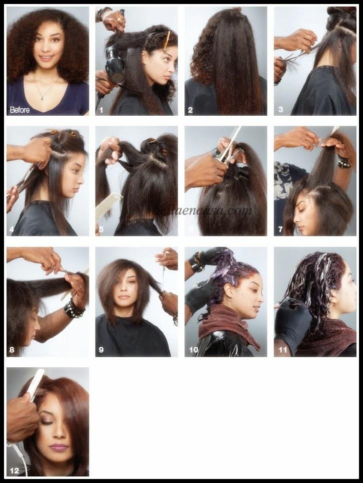 Seleccionar el cabello en cinco partes para comenzar A cortar.