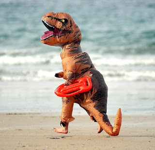 Baywatch dinosaur on Portreath beach, Cornwall.