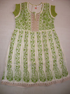 Chanderi Green Anarkali