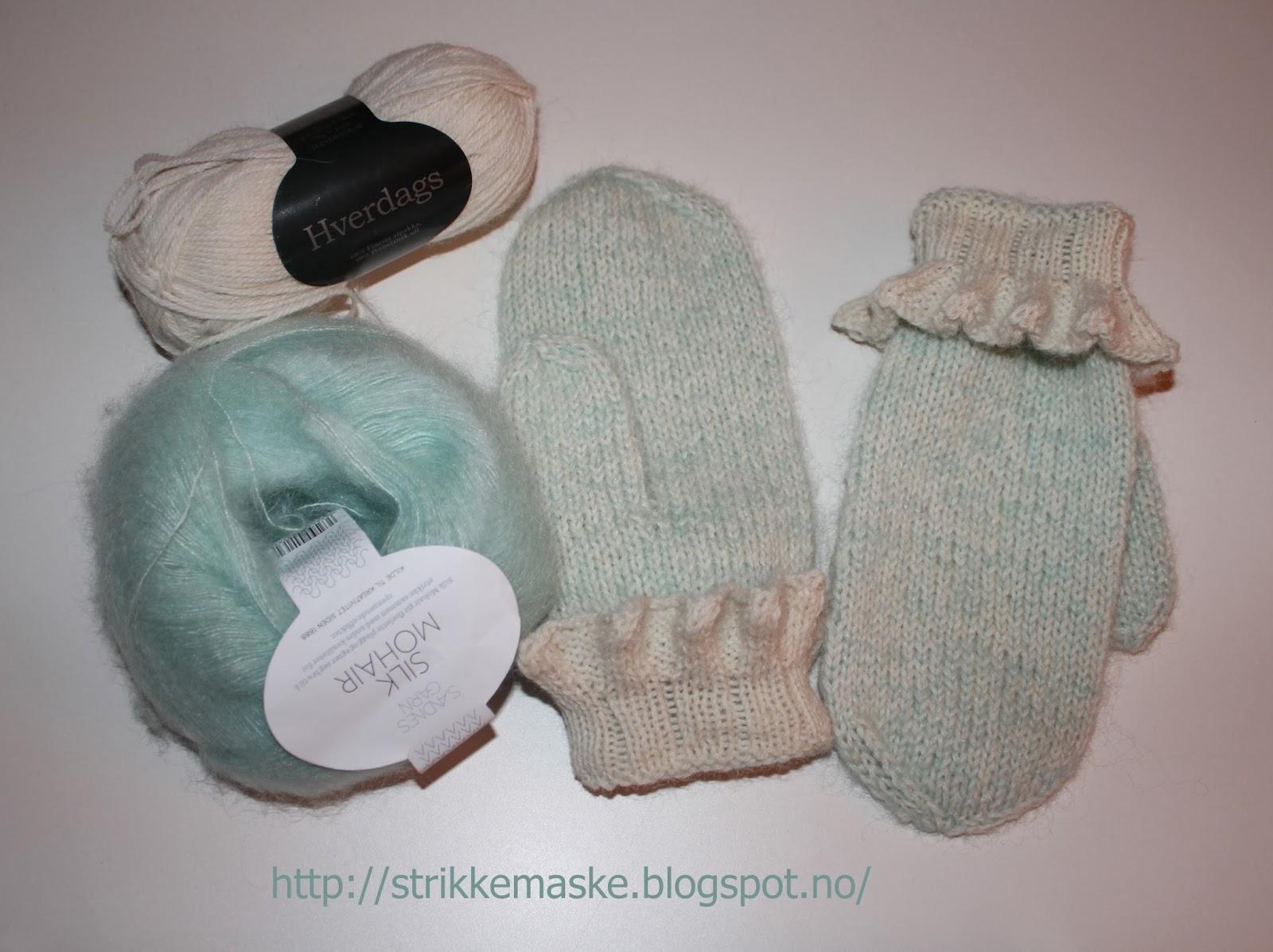 Mintgrønne votter i silke, mohair, alpakka og ull