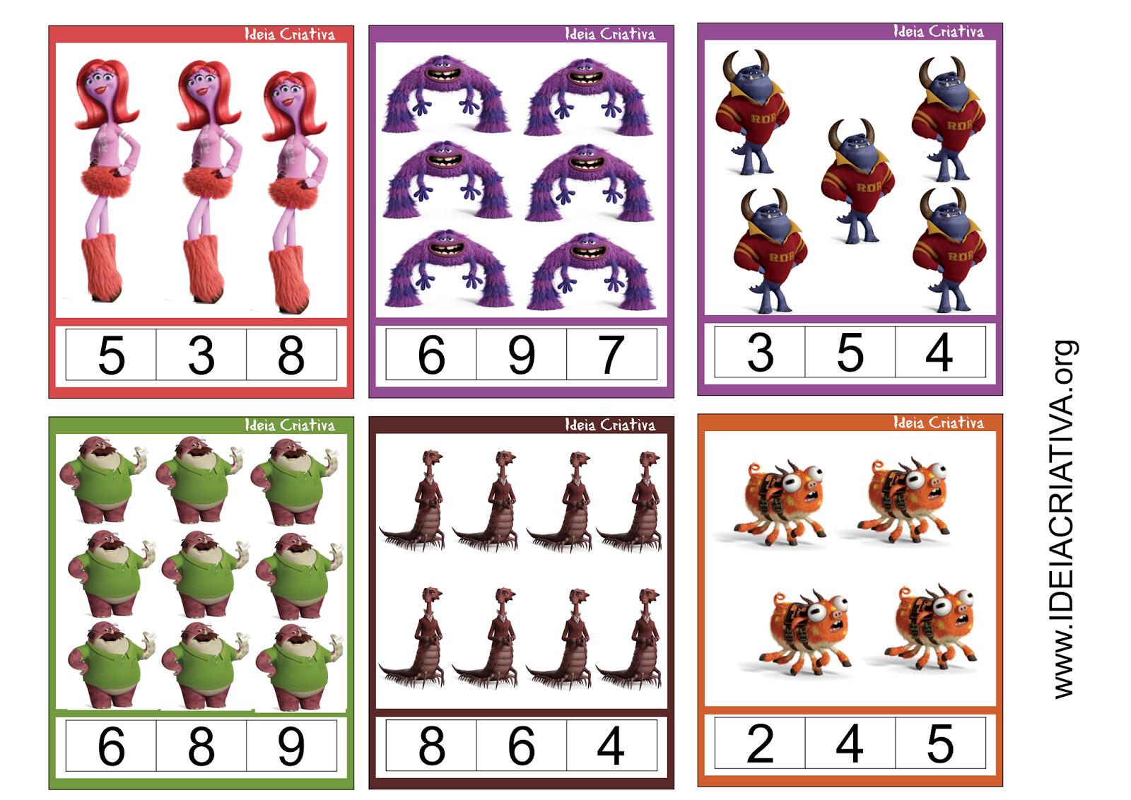 Flash Cards Monstros SA Número e Quantidade