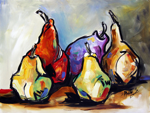 Texas contemporary fine artist laurie pace pear painting for Paintings for kitchen area