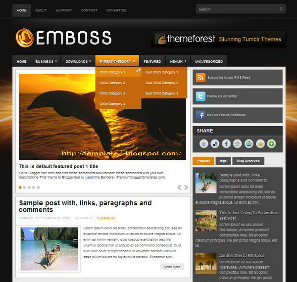 Emboss Blogger Template