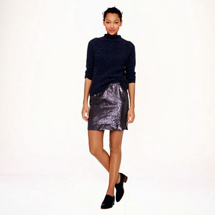 J Crew shirt tail mini in indigo sequins