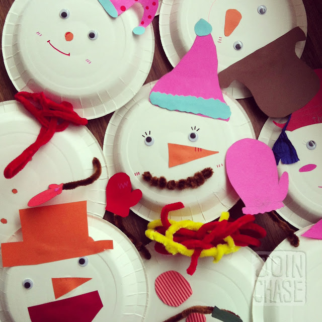Paper Plate Snowmen and Snowomen made my elementary students in Ochang, South Korea.