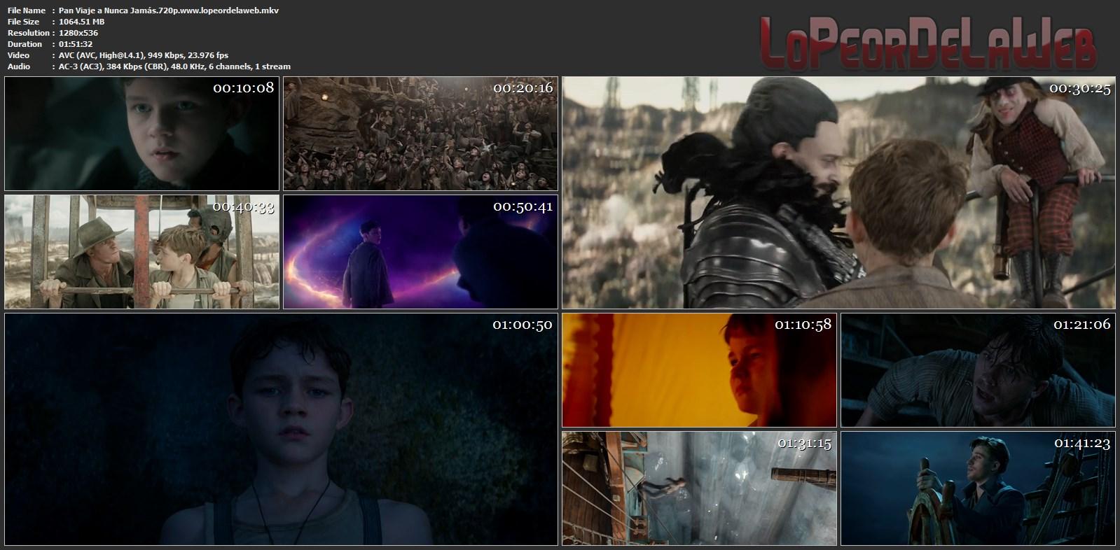 Pan: Viaje a Nunca Jamás BRrip 720p Latino 2015 [Mega]