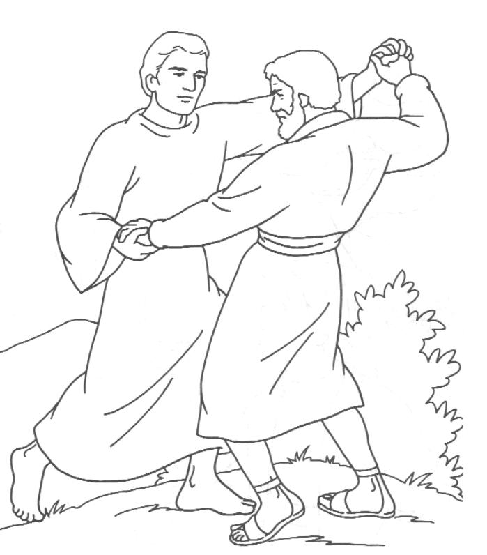 Jacob Wrestling with God Coloring Page