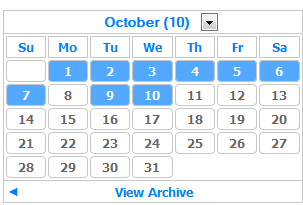 Light Theme Calender Archive Blogger