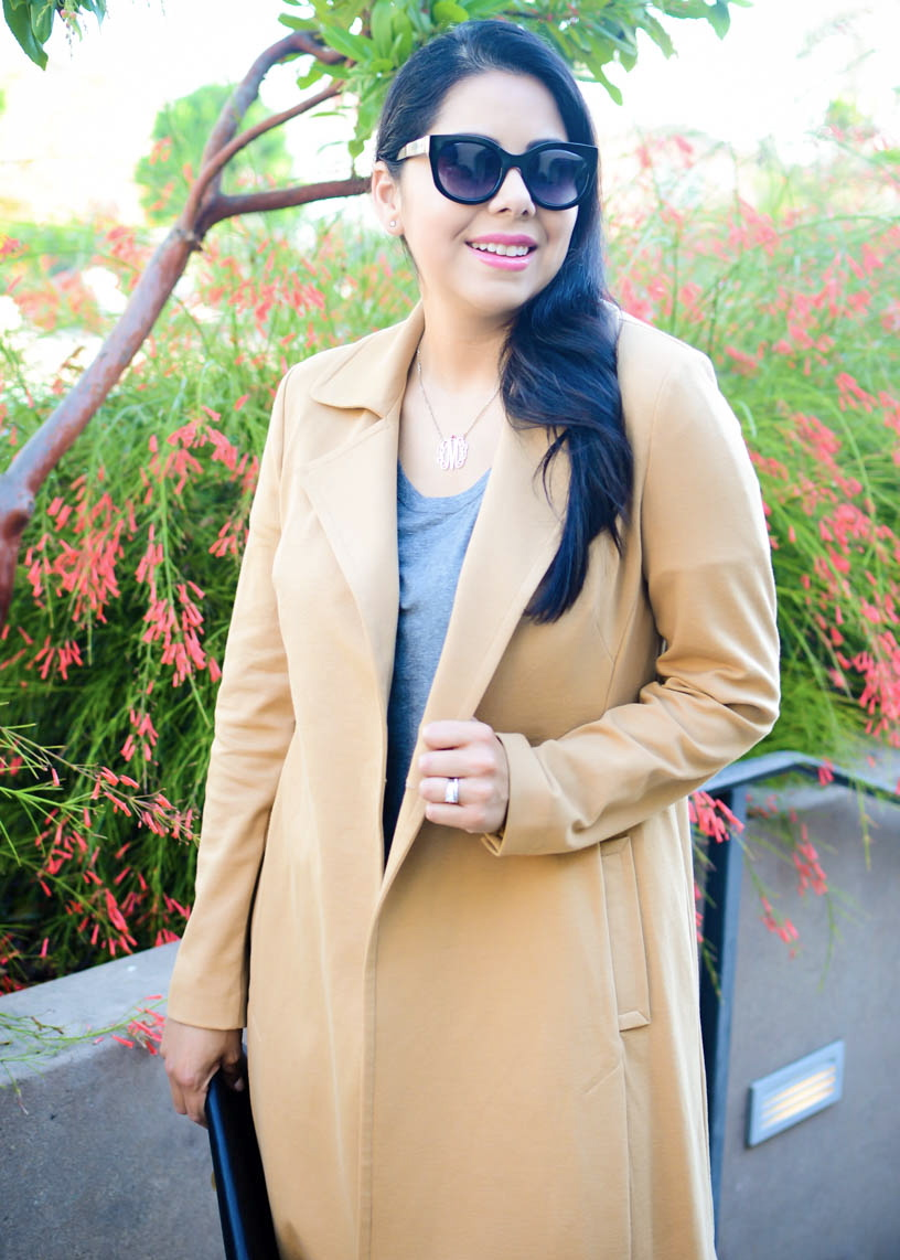 cabi casablanca trenchcoat, kit and ace tee, brunette blogger, best of san diego