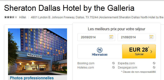 Error fare Sheraton Dallas Hotel