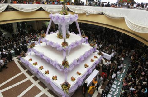الفنون جنون اكبر كعكة زفاف العالم