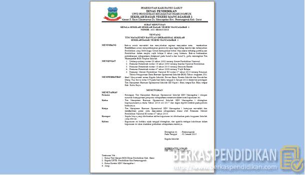 Contoh SK Tim Manajemen BOS (Bantuan Operasional Sekolah)