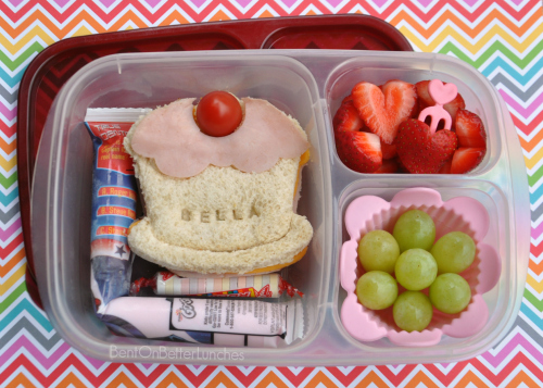 Cute cupcake lunch in EasyLunchboxes by BentOnBetterLunches