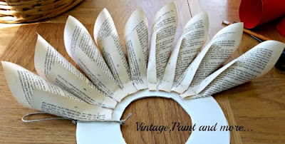 Book Page Wreath Tutorial - first row placement of rolled pages