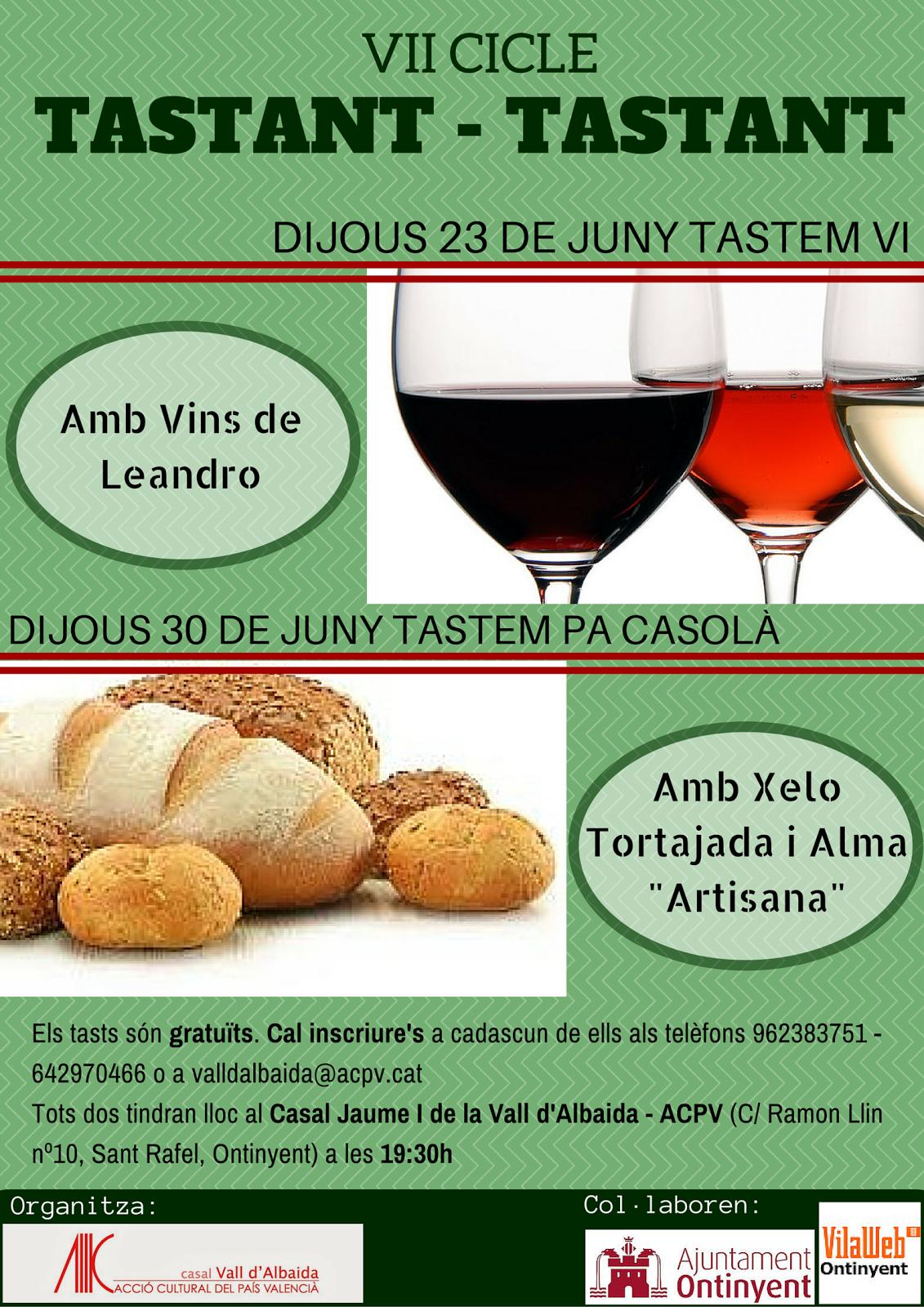 Ja podeu inscriure-vos als tasts gratuïts que organitzem des del Casal de la Vall d'Albaida - ACPV