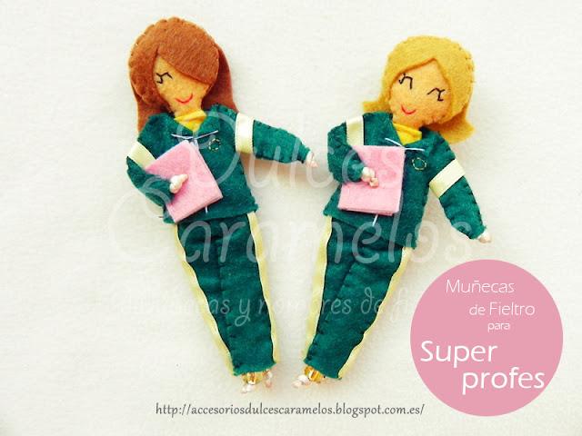 Muñecas de fieltro personalizadas, Profes de guarderia