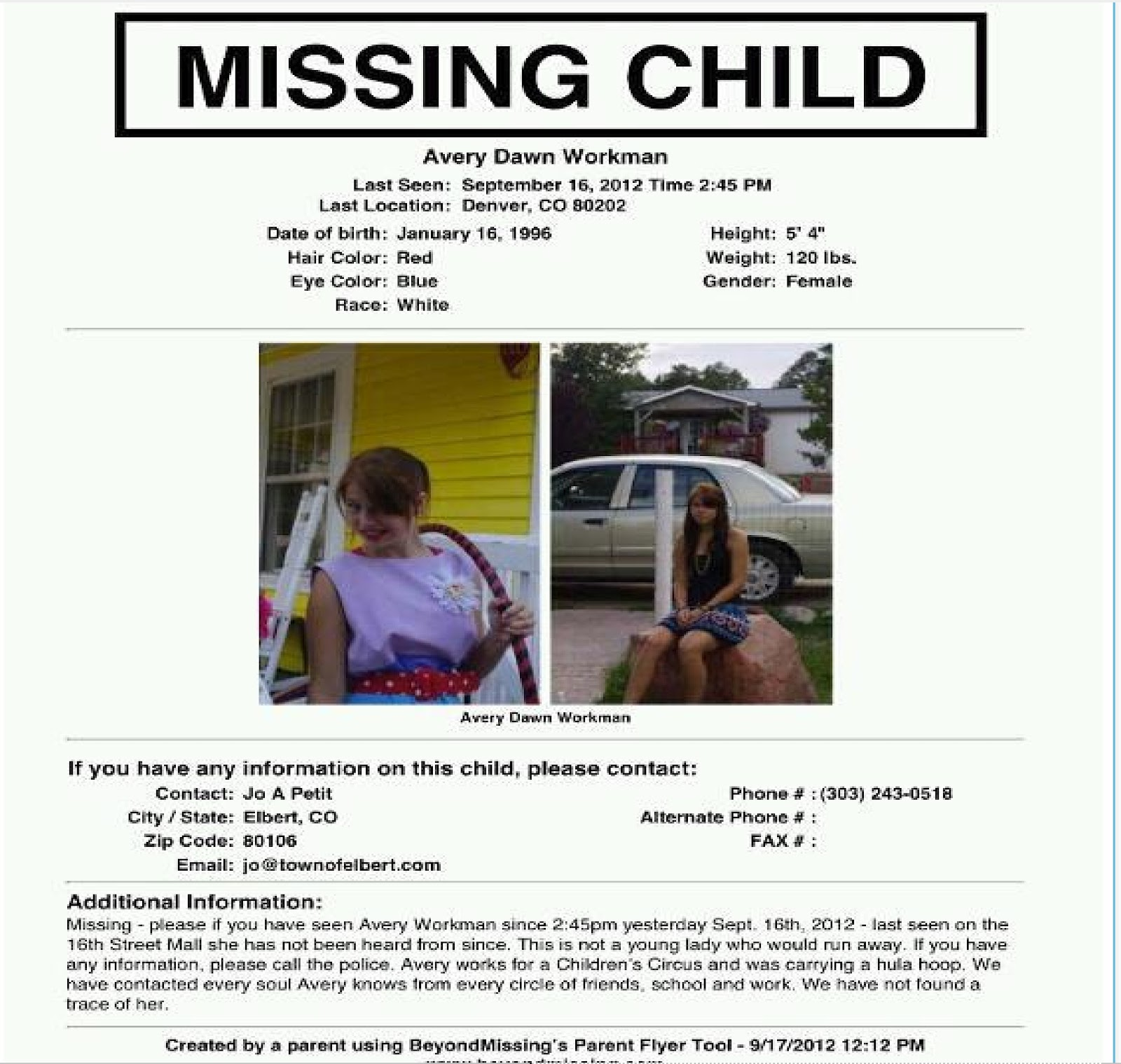 Just Stephanie Official Missing Persons and Criminal – Missing Child Poster Template
