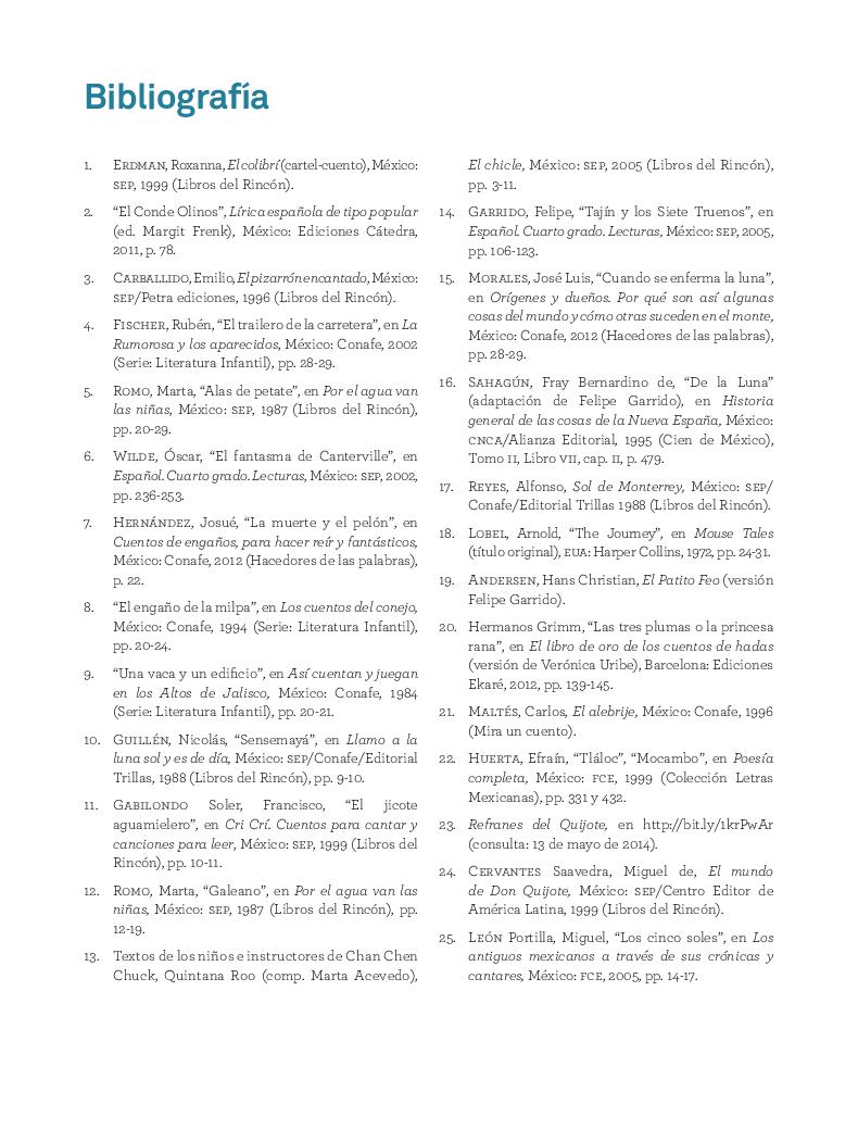 Bibliografía - Español Lecturas 4to 2014-2015