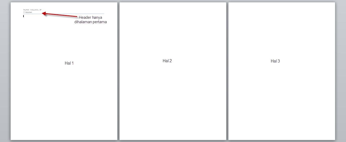 Membuat Header Ms.Word 2010 hanya halaman Pertama