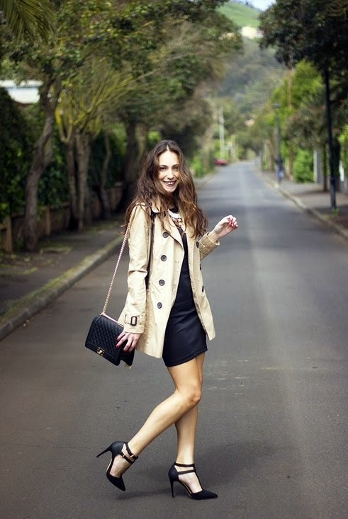 Parisian Chic in Trench Coat and Little Black Dress