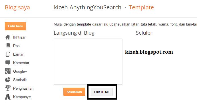 Cara masuk pengaturan HTML pada blog
